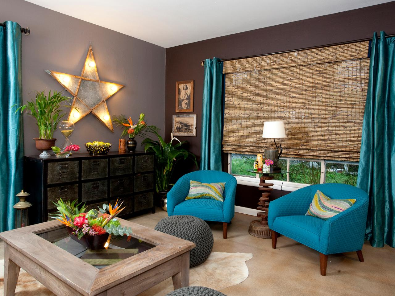 Photo page hgtv - Blue green grey living room ...