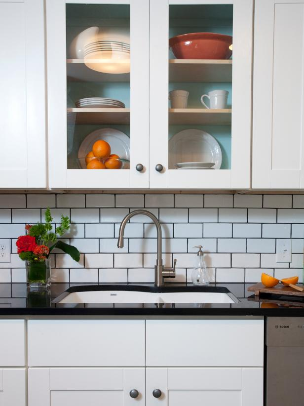 Subway Tile Backsplash with Kitchen Sink and Cabinets