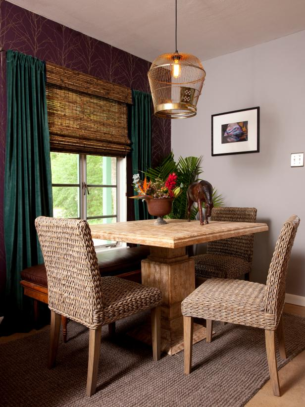 Purple Wallpaper, Bamboo Blinds & Woven Dining Chairs