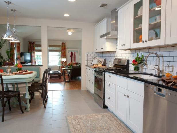 White Contemporary Kitchen With Large White Subway Tile Backsplash