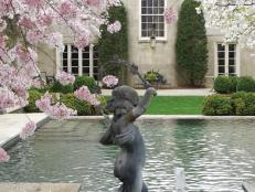 Lovely Swimming Pool and Blooming Cherry Trees at French Provincial Home