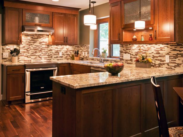 Contemporary Brown Kitchen With Wood Cabinetry and Mosaic Tile Backsplash