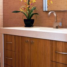 contemporary bathroom with bamboo vanity