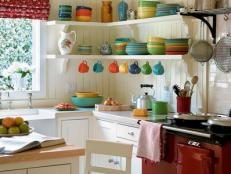 Colorful Dishes in Cottage Kitchen