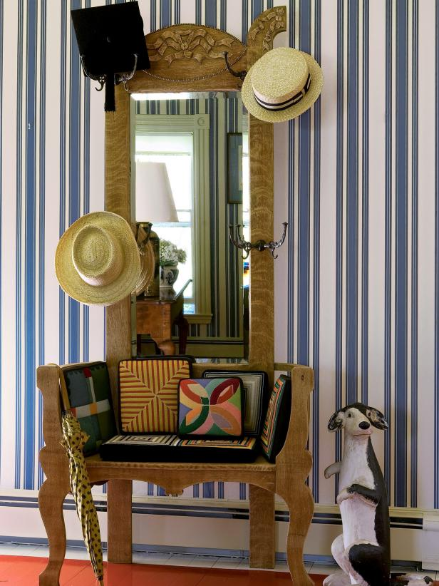 Traditional Foyer With Blue-and-White Striped Wallpaper