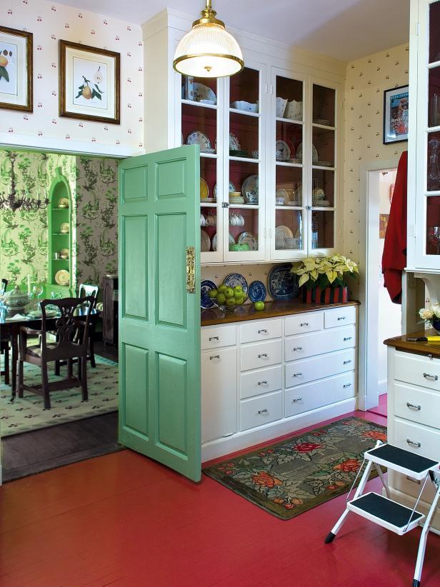 Butler's Pantry With Red Floor and Green Door