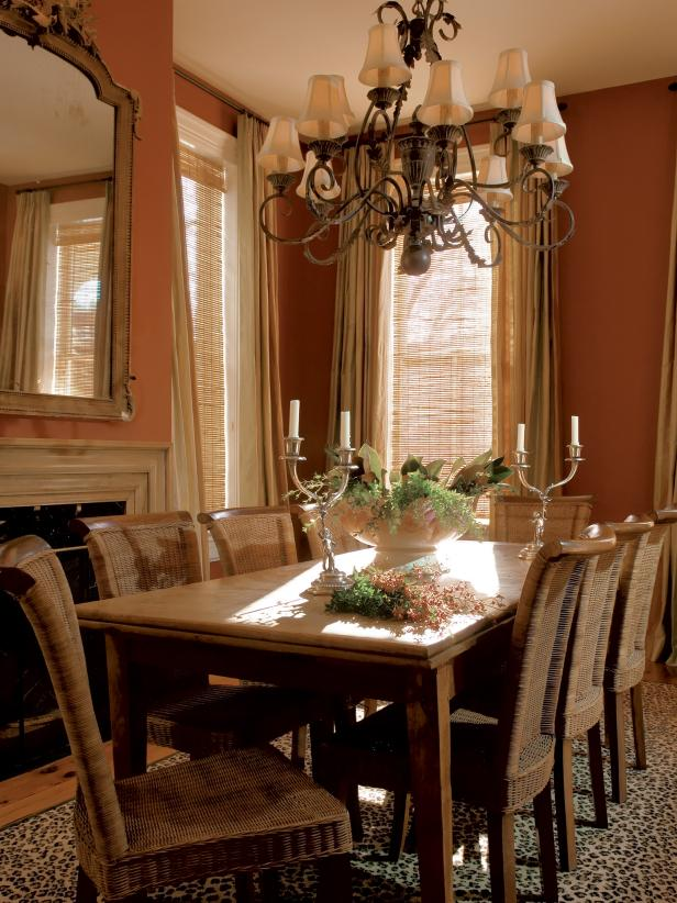 Burnt Orange Dining Room With French Pine Dining Table