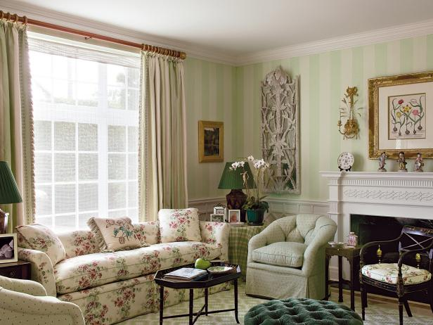 Traditional Living Room With Antiques and Striped Walls