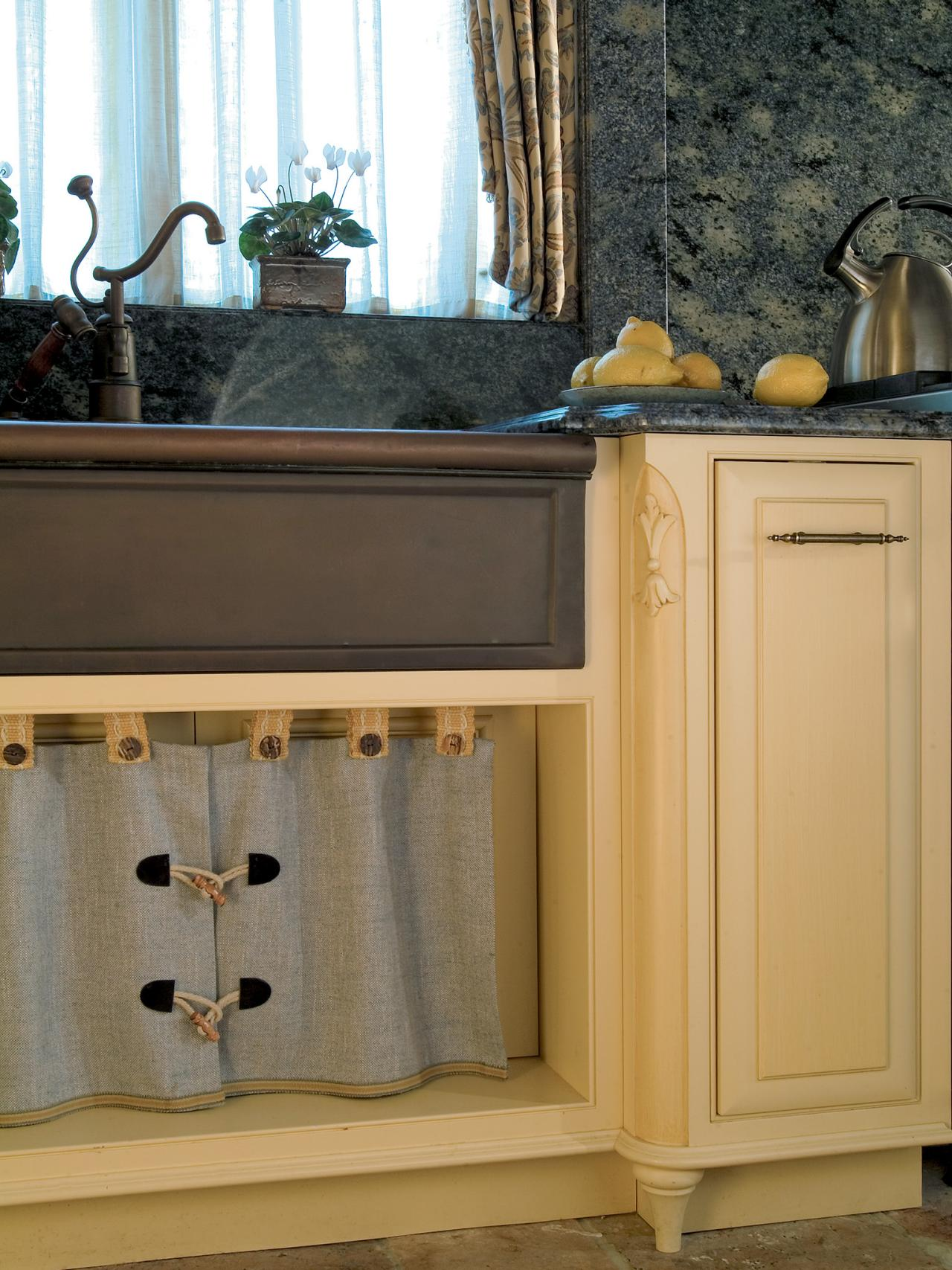 Farmhouse Kitchen Sink With Sink Skirt The Taupe Kitchen Cabinets