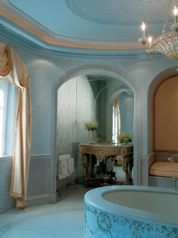 Blue Neoclassical Master Bathroom With Mosaic Ceiling