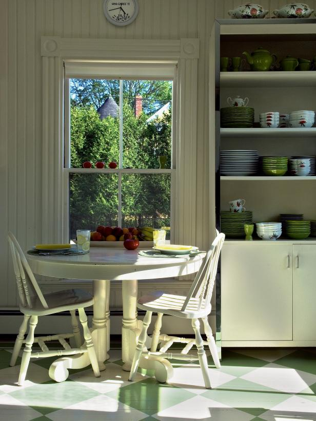 Retro White Breakfast Nook With Beadboard