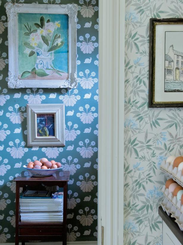 Floral Wallpaper In Hallway and Adjacent Kitchen