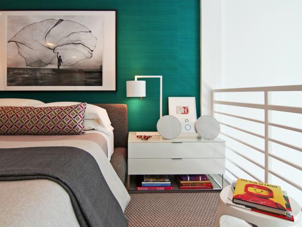 Modern Teal Loft Bedroom