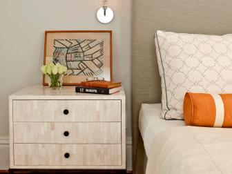 Contemporary Gray-and-Orange Bedroom