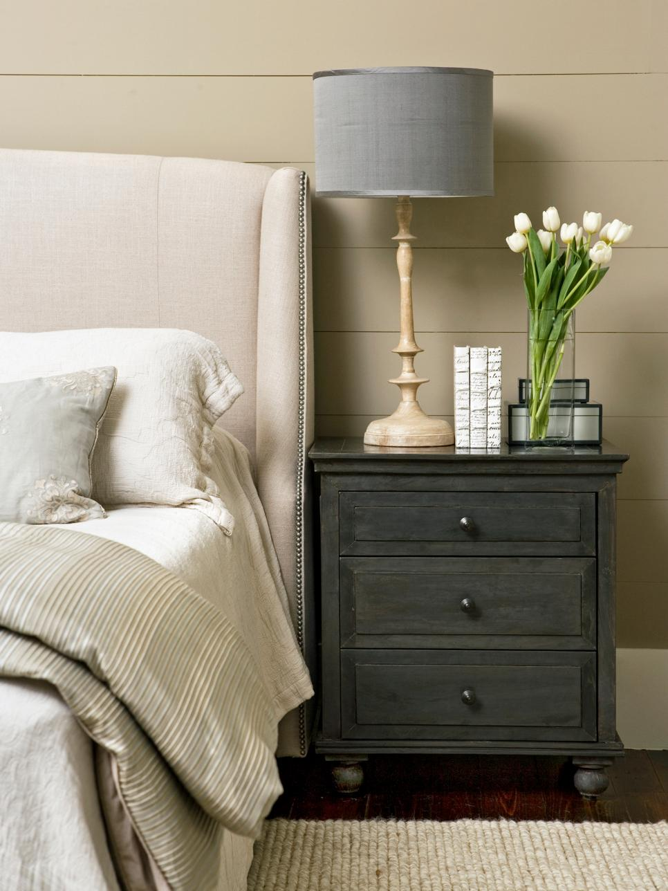 Resultado de imagem para bedroom nightstand bedroom Decorating Tricks for Your Bedroom original Linda McDougal gray nightstand neutral bedroom v