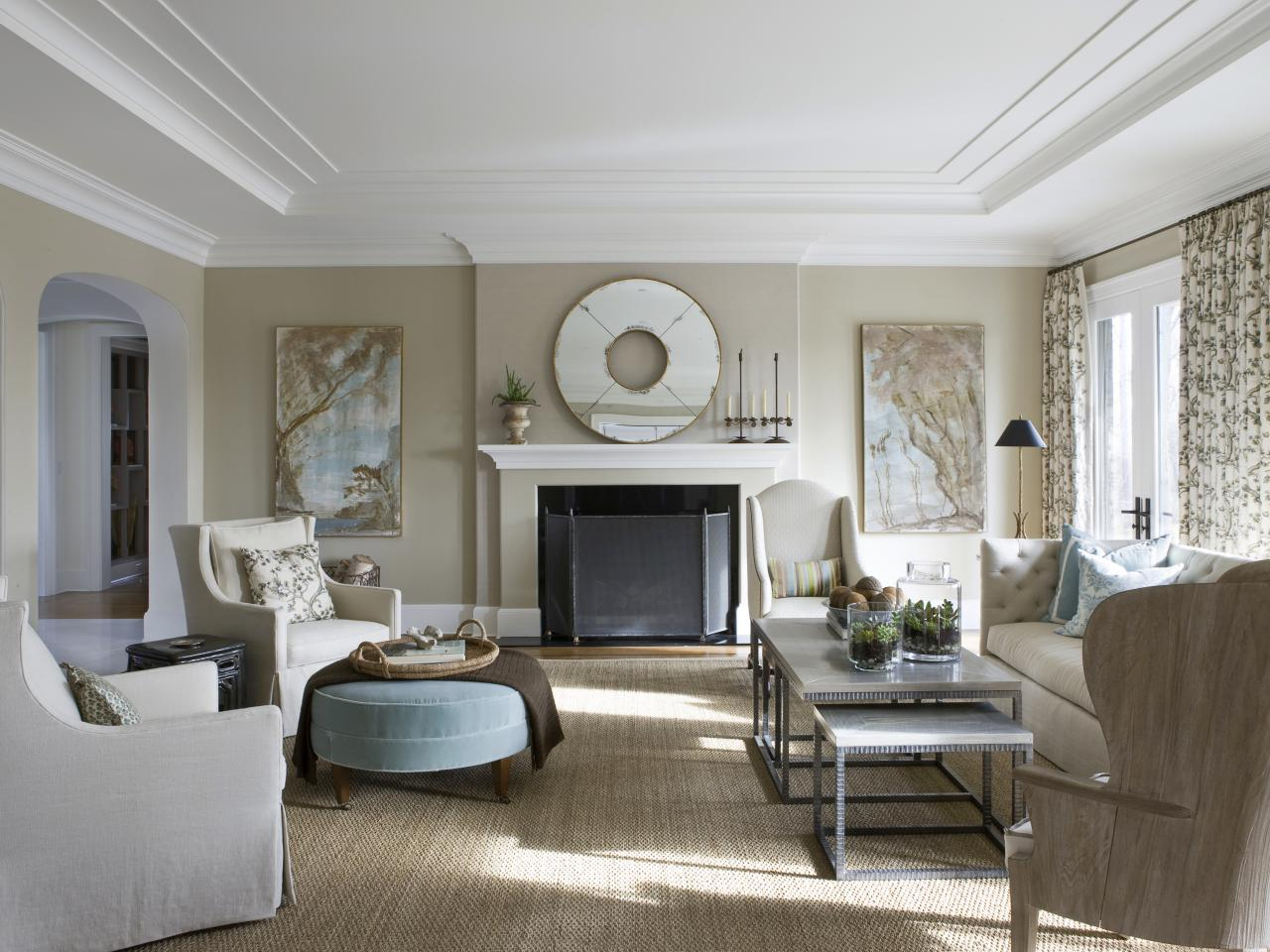 Traditional living room with neutral palette hgtv for Pictures of living rooms