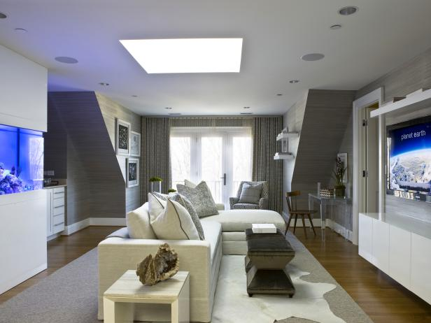 Modern White and Gray Living Room With Built-In Aquarium