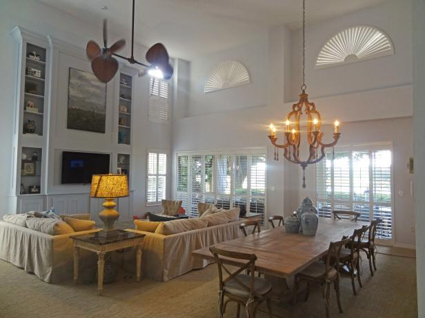 White Living Room, Dining Room With Farm House Table