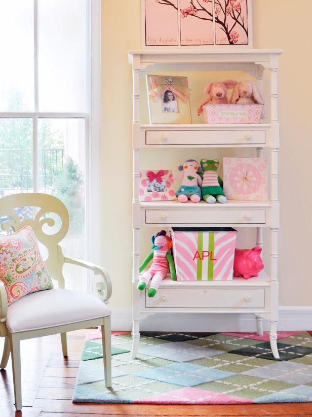 Yellow Walls and White Bookshelf in Kid's Room