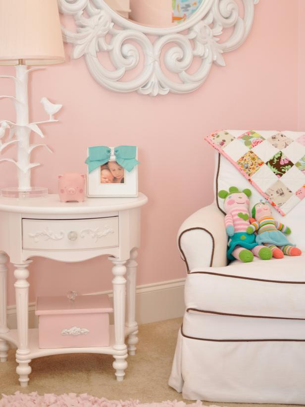 Pink Girl's Bedroom with White End Table, Bird Lamp and Glider Chair