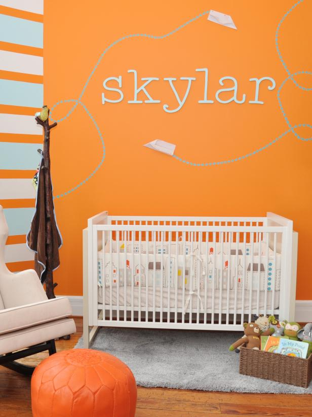 Gender Neutral Nursery With Orange and Blue Stripes
