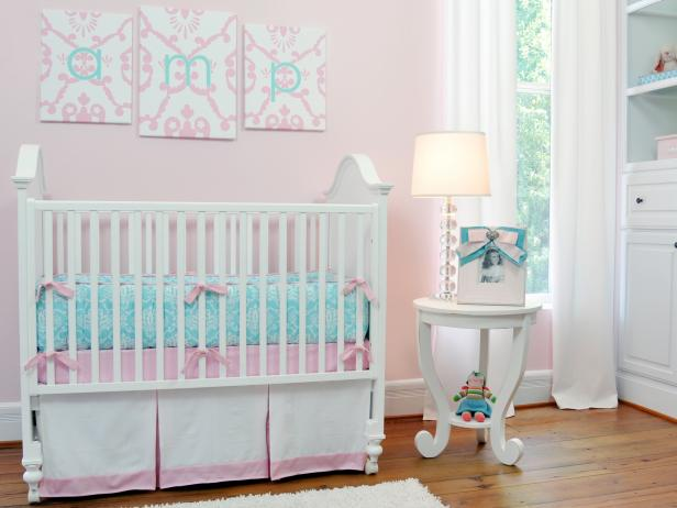 Pale Pink, Aqua and White Nursery With Damask Bedding