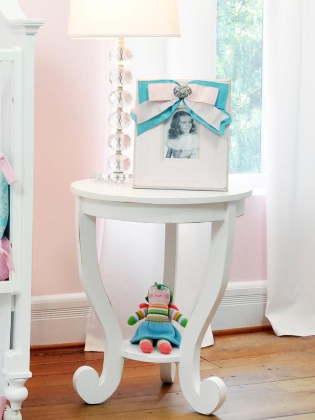 Side Table in Girls Modern Nursery
