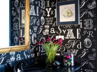 Contemporary Bathroom with Graphic Typography Wallpaper