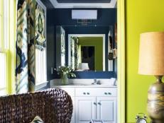 Bold, Contrasting Colors Uplift Guest Suite Powder Room