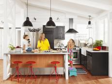 Kid-Friendly Kitchen Island In Contemporary Farmhouse Style Kitchen