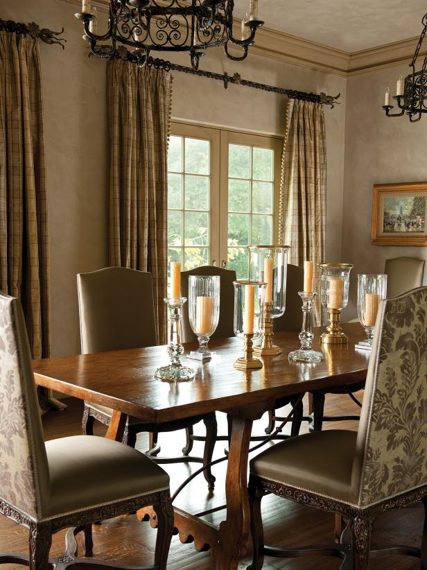 Traditional Gray Dining Area With Candle Centerpiece