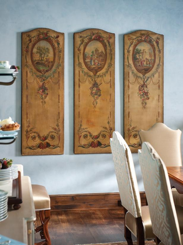 Old-world French art panels for a dining room.