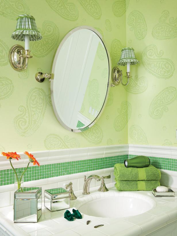 Green Bathroom With Paisley Walls