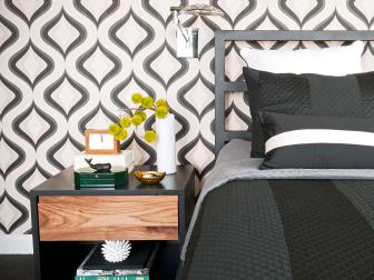 Midcentury Modern Bedroom With Black and White Wallpaper