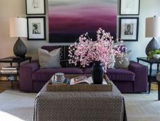 Purple Living Room With Gallery Wall