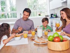 Young Family Eating Breakfast in Eat-In Kitchen