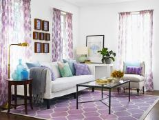 White Eclectic Living Room With Purple Accents