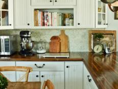 White Cottage Kitchen With Butcher Block Countertops