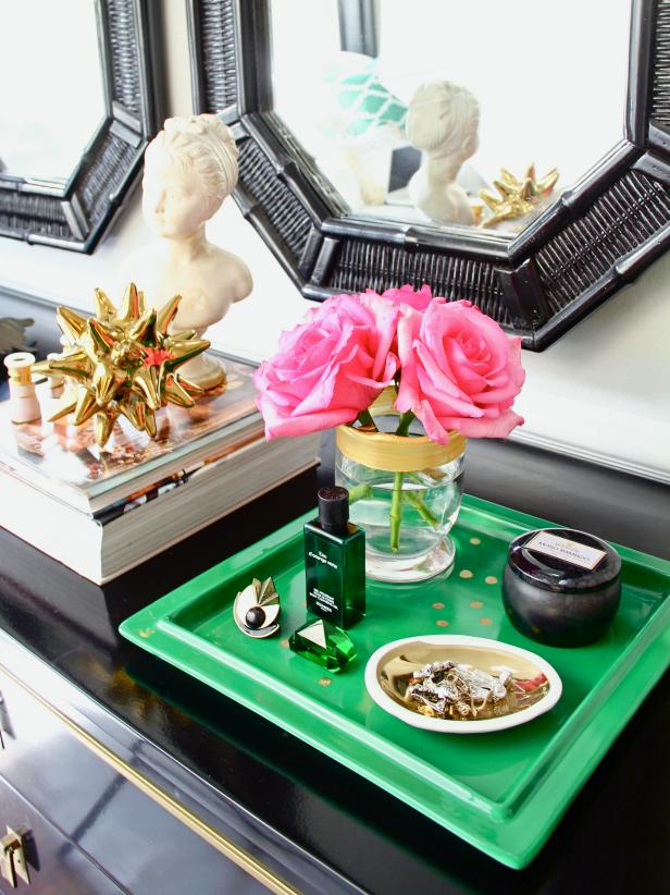 Create a personalized touch to a vanity tray by tracing zodiac constellation dots onto it, using a printable download. This bright and cheery tray acknowledges its user with a simple, yet creative embellishment, yet retains its functional use.