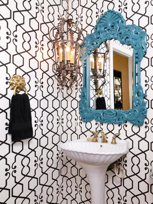 Small Eclectic Bathroom with Trellis Pattern Wallpaper and Blue Mirror