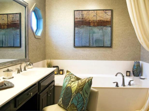 Neutral Transitional Bathroom With Octagon Window and Bathtub