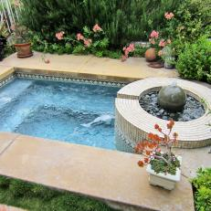 Rippling Hot Tub With Sculptural Fountain