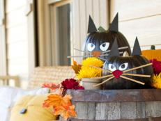 DIY Black Cat Halloween Pumpkins on Rustic Barrel