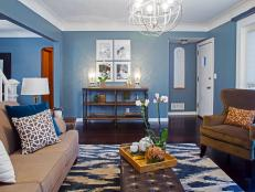 Transitional Blue Living Room