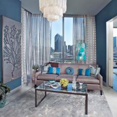 Blue and Gray Contemporary Living Room