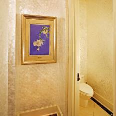 Powder Room With Mother-of-Pearl Wall Finish