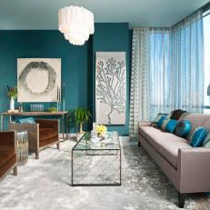 Serene and Inviting Contemporary Blue Living Room