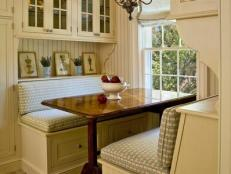 Built-In Kitchen Banquette in Cottage Kitchen