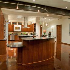 island track lighting. modern kitchen with curvilinear island u0026 track lighting