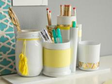 Stylish White and Yellow Desk Organizers